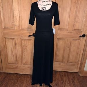 NWT L LLR Solid Black Ana Maxi Dress